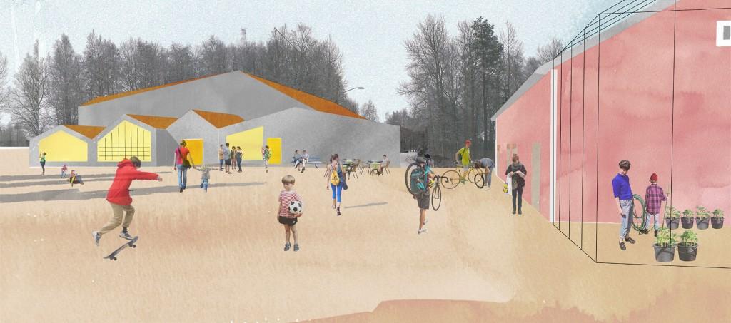 Visualisering av Mötesplats Stöcke